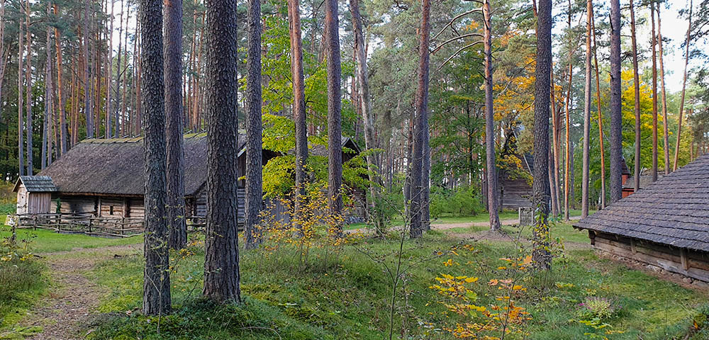nachbebautes Dorf im Freilichtmuseum Riga