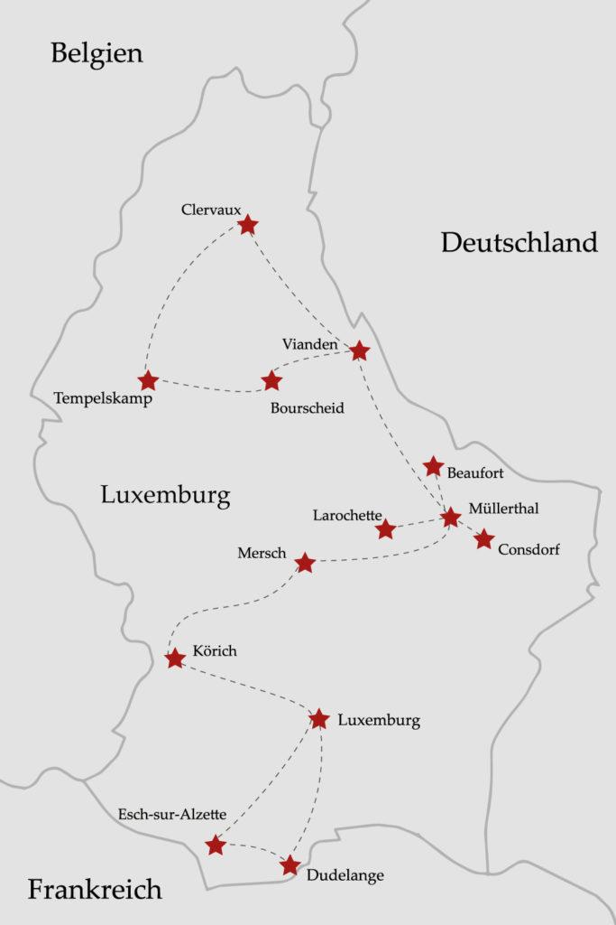 Route Roadtrip Luxemburg