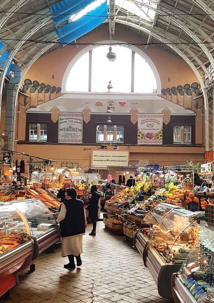 Innanansicht der Bessarabska Markthalle - Kiew