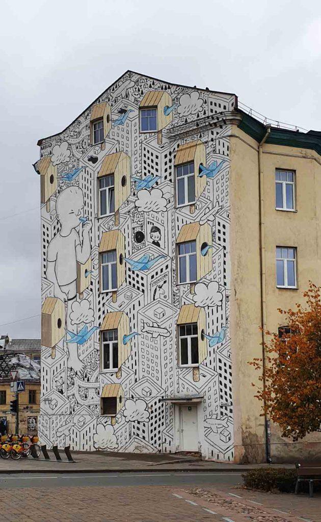Streetart gegenüber der Markthalle in Vilnius